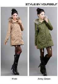 stylish solid hooded thigh length overcoat women winter coat