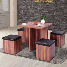 Giantex 5 Pieces Wood Dining Table And 4 Stools Set Modern ...