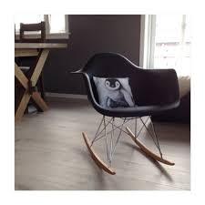 100 Eames Style Rocking Chair RAR Molded Black Plastic With Steel Eiffel