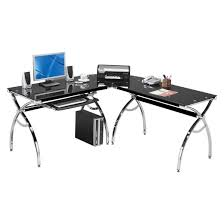 l shaped colored tempered glass top corner desk with pull out