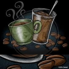 Stock Iced Coffee And Mug Chalk Drawing