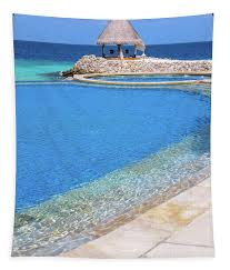 100 Maldives Infinity Pool Blue 1 Tapestry