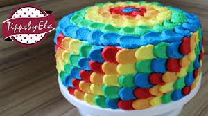 regenbogen torte aus sahne selber machen anleitung bunte torte kinder geburtstagstorte