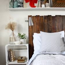 DIY Dark Stained Headboard On A Frame Via