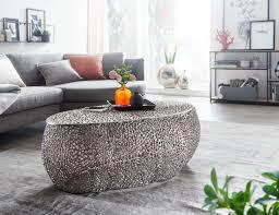couchtisch 110x45x60 cm aluminium silber design loungetisch oval sofatisch ast struktur metall wohnzimmertisch modern stubentisch groß