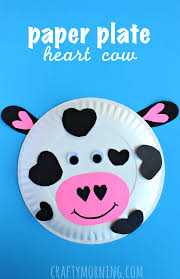 Paper Plate Cow Heart Valentine Craft For Kids