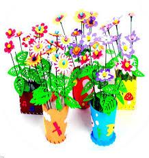 Kids Creative DIY 3D EVA Handwork Flowerpot Decor Children Artificial Flower Pot Hand Early Childhood Educational