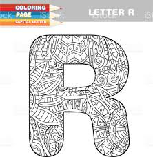 Adult Coloring Book Capital Letters Hand Drawn Template Royalty Free Stock Vector Art