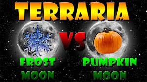 Pumpkin Moon Terraria by Terraria Frost Moon Weapons Vs Pumpkin Moon Youtube