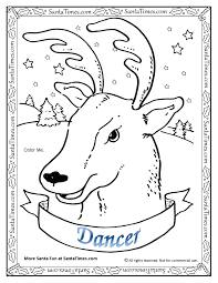 Printable Christmas Coloring Pages Reindeer And Sleigh Dancer Page Antlers Full Size