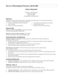 Profile For Resume Example Samples On A Sample Chronological With