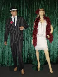 Mens Pinstripe 20s Suit And Ladies White