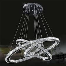 details zu 72w led kaltweiß deckenle deckenleuchte 3 ring kristall hängele wohnzimmer
