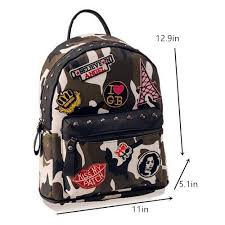Fashion Camo Backpack With Patches For Girls PU Travel Studded Backpacks