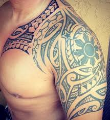 Cool Maori Shoulder And Half Sleeve Tattoo For Men