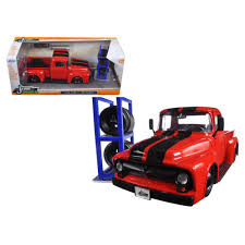 1956 Ford F-100 Red Pickup Truck \Just Trucks\ With Extra Wheels 1 ... Just Trucks Series 1956 Ford F100 Pick Up Blue 124 Scale In Depth Look 1972 Chevy Cheyenne Jada Toys Youtube Ferra Market Inc Jada Diecast 1953 3100 1 32 2011 F 150 Svt Jual Truck 1957 Suburban Di Lapak 2014 Silverado Off Road Red Tucson New 2017 F350 Super Duty Pickup 2006 Toyota Tundra Pickup Two Lane Desktop Luxury 11 Best 1936 Intertional Images On Amazoncom 164 Games 1951