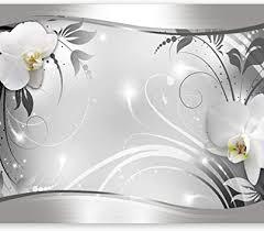 murando fototapete blumen 350x256 cm vlies tapeten wandtapete moderne wanddeko design wand dekoration wohnzimmer schlafzimmer büro flur weiß grau