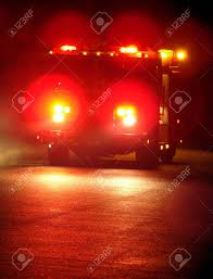 100 Truck Emergency Lights Rushing Fire With On At Night Stock Photo