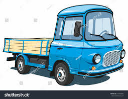 Vector Isolated Cartoon Blue Small Truck | EZ Canvas
