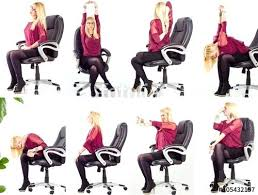 Collage Young Business Woman Doing Exercises In Her Office Chair Yoga F Vector Illustration With