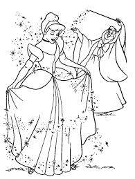 Cinderella And Fairy Free Coloring Page