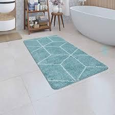 paco home badematte kurzflor teppich badezimmer karo rauten geometrisch skandi muster grösse 80x150 cm farbe türkis