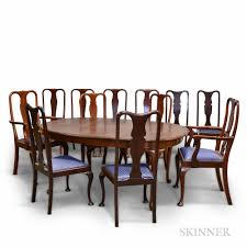 Queen Anne Style Mahogany Dining Table And Twelve Chairs