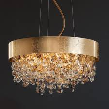 Gold Chandelier Floor Lamp Leaf Amber Coloured Crystal Modern 3 Photos
