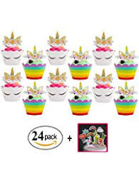 Unicorn Cupcake Toppers And Wrappers Double Sided Kids Party Cake Decorations Set Of 24 Bonus