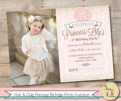 Pink And Gold Birthday Themes by Princess Birthday Photo Invitation Pink And Gold Glitter