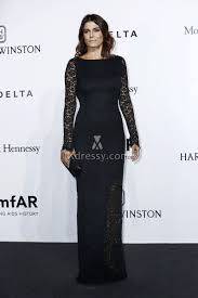 Valeria Solarino Black Lace Long Sleeve Open Back Vintage Evening Dress Amfar 2016