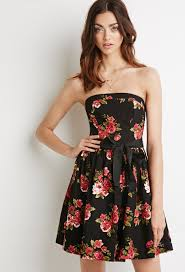forever 21 rose print fit u0026 flare dress in red lyst