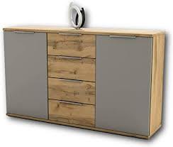 schlafzimmer kommode in wildeiche optik basaltgrau modernes ausdrucksstarkes softclose sideboard für ihr schlafzimmer 150 x 90 x 38 cm