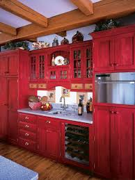 Red Kitchen Cabinets Pleasing Design Rustic With Regard To Decor