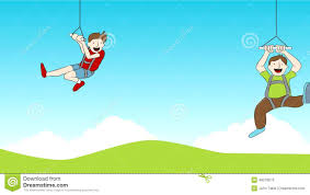 Zip Line Riders Footage stock footage Illustration of clouds
