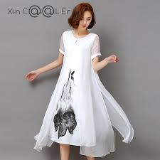 High Quality 2018 New Spring Summer Women Work Wear Ink Print Retro Cotton Linen Designs Casual Dresses Slim White In From Womens Clothing