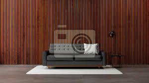 fototapete moderne loft wohnzimmer interieur black sofa mit alten holzwand