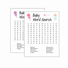 042 Word Search Printable Pdf Or Baby Shower Game Pink Rare