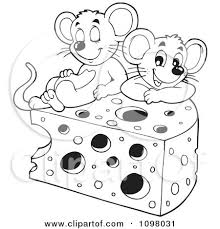 Clipart Black And White Cute Mice With A Wedge Cheese Royalty Free Vector Illustration