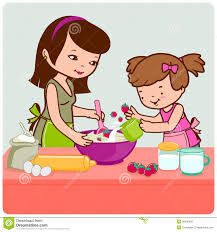 Mom And Daughter Cooking Clipart