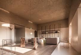 Modern Apartment Interior Rustic Plaster Ceiling Idea
