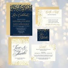 Navy and Gold Glitter Dots Wedding Invitation Suite line Wedding