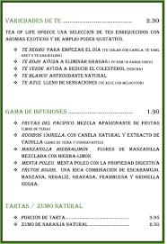 Carta Restaurante Charlotte Arganda