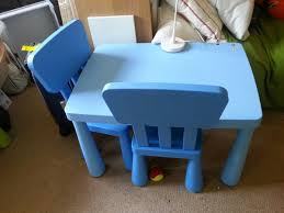 Children's Ikea Mammut Blue Table 2 Chairs