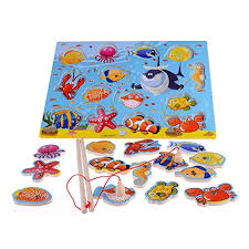 14 Piece Fishes Basic Educational Early Development Wooden Magnetic Bath Fishing Travel Game Toys