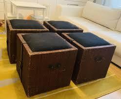 4 gepolsterte sitzhocker aus holz mit stauraum aufbewahrung