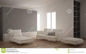 minimalismus modernes wohnzimmer mit grauer gipswand sofa