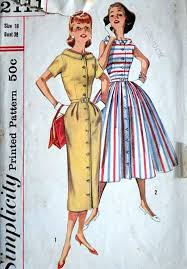 Vintage 50s Simplicity 2111 Sewing Pattern Misses One Piece Dress With Two Skirts