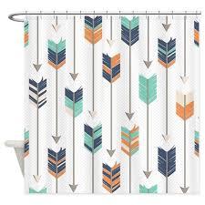 Tribal Arrows Pattern Navy Orange Shower Curtain by cutetoboottoo