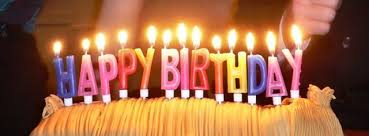 Candles spell out the traditional birthday greeting Author Ed g2s CC BY SA 3 0
